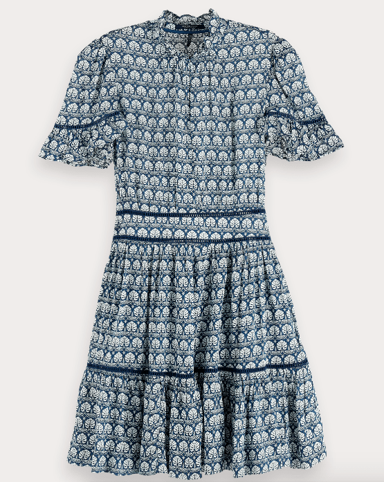 Scotch and Soda Women's Dresses Scotch and Soda, Women's Printed Ladder Lace Dress (Blue)
