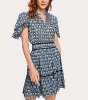 Scotch and Soda Women's Dresses XS Scotch and Soda, Women's Printed Ladder Lace Dress (Blue)