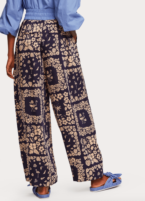 Scotch and Soda Women's Pants Scotch and Soda, Women's Wide Leg Contrast Trousers (Navy/Cream)