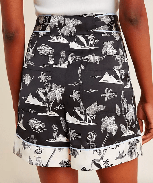 Scotch and Soda Women's Shorts Scotch and Soda, Women's Belted Hawai'ian Print Shorts (Black)