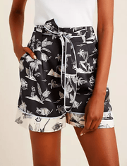 Scotch and Soda Women's Shorts XS Scotch and Soda, Women's Belted Hawai'ian Print Shorts (Black)
