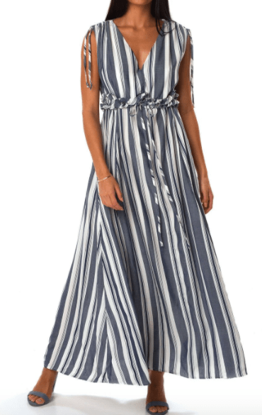 Shore Women's Dresses Large / Blue and White Striped Shore, Women's Palm Beach Maxi Dress (Blue)