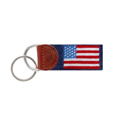 Smathers & Branson Key Fobs Smathers and Branson, American Flag Needlepoint Key Fob (Navy Blue)