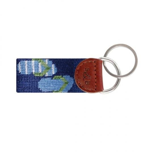 Smathers & Branson Key Fobs Smathers and Branson, Flip Flops Needlepoint Key Fob (Navy Blue)