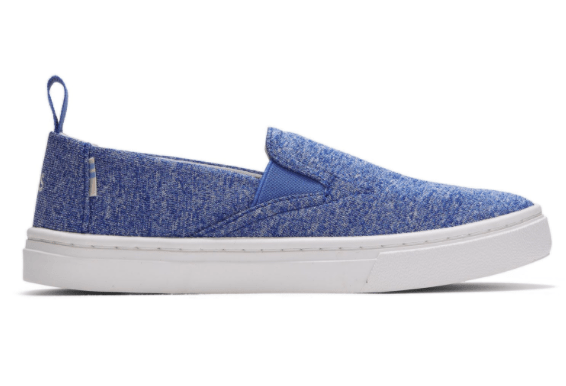 TOMS Kid's Shoes Youth 1 / Vallarta Blue Toms, Kids Luca Slip-Ons (Vallarta Blue)