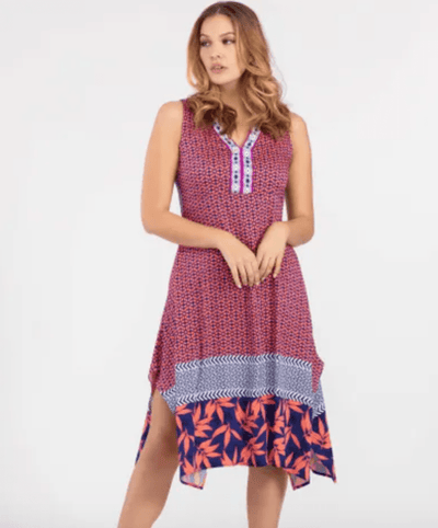 Tribal Women's Dresses Large / Navy and Coral Tribal, Women's Handkerchief Dress (Navy & Coral)