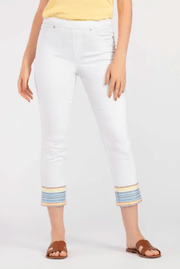 Tribal Women's Pants 0 / White Tribal, Women's Embroidered Capris (White)