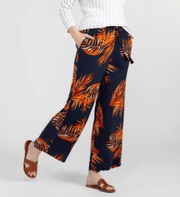 Tribal Women's Pants Large / Tang/Tangerine & Navy Tribal, Women's Wide Leg Challis Pant (Navy & Orange)