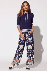 Tribal Women's Pants Large / Ultramarine Tribal, Women's Floral Palazzo Pant (Ultramarine Blue)