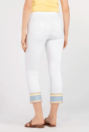 Tribal Women's Pants Tribal, Women's Embroidered Capris (White)