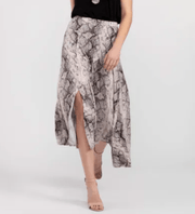 Tribal Women's Skirt Large / Stone Tribal, Women's Snake Print Asymmetrical Skirt (Stone)