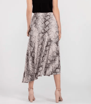 Tribal Women's Skirt Tribal, Women's Snake Print Asymmetrical Skirt (Stone)