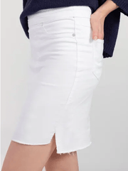 Tribal Women's Skirt Tribal, Women's Step Hem Denim Skirt (White)