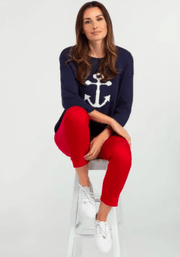 Tribal Women's Sweaters Large / Navy Tribal, Women's Nautical Sweater (Navy Blue)
