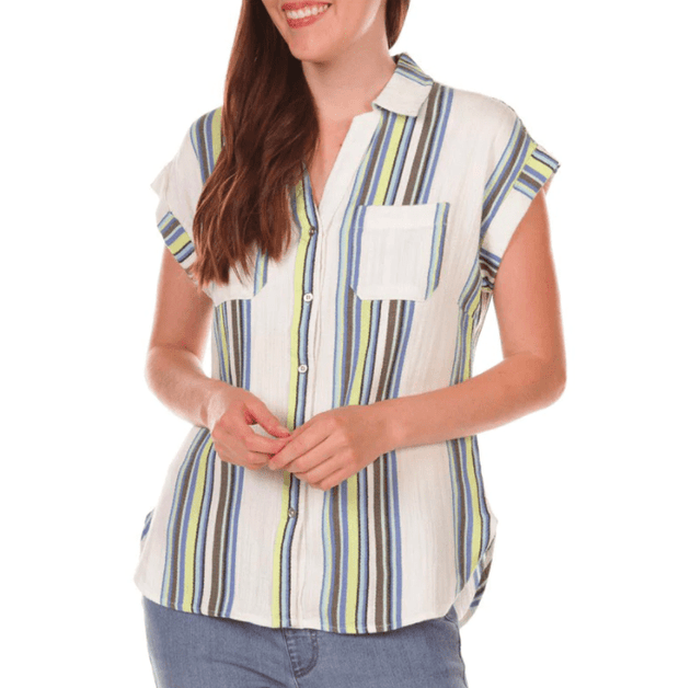 Tribal Women's Tops Large / Key Lime Tribal, Women's Cap-Sleeve Button Down (Key Lime Stripe)
