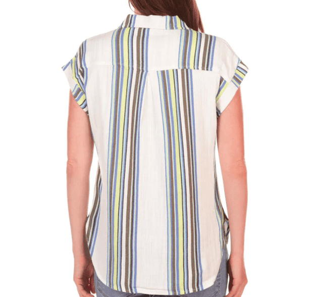 Tribal Women's Tops Tribal, Women's Cap-Sleeve Button Down (Key Lime Stripe)