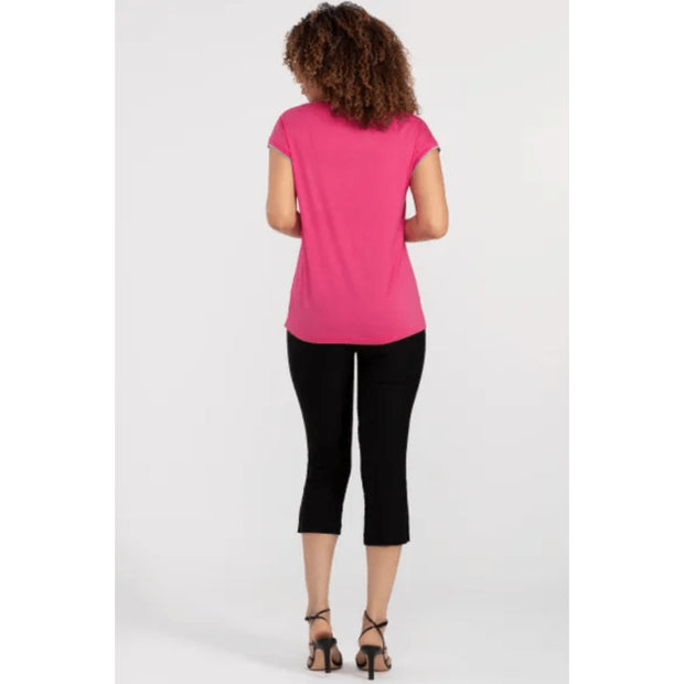 Tribal Women's Tops Tribal, Women's Cap Sleeve V-Neck Top (Hot Pink)