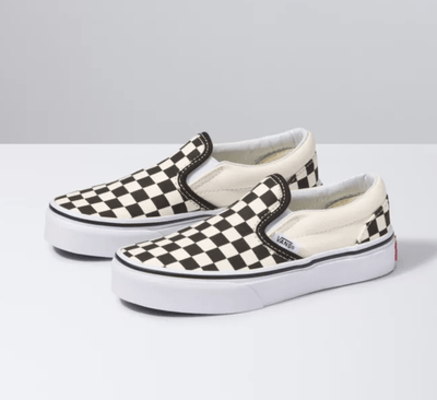 Vans Kid's Shoes Vans, Kid's Classic Checkerboard Slip-Ons (Black and White)