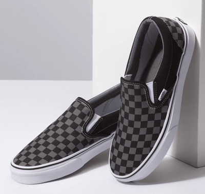 Vans Men's Shoes Women's 11.5 / M's 10 / Pewter & Charcoal Vans, Unisex Pewter Checker Slip-On (Black and Grey)