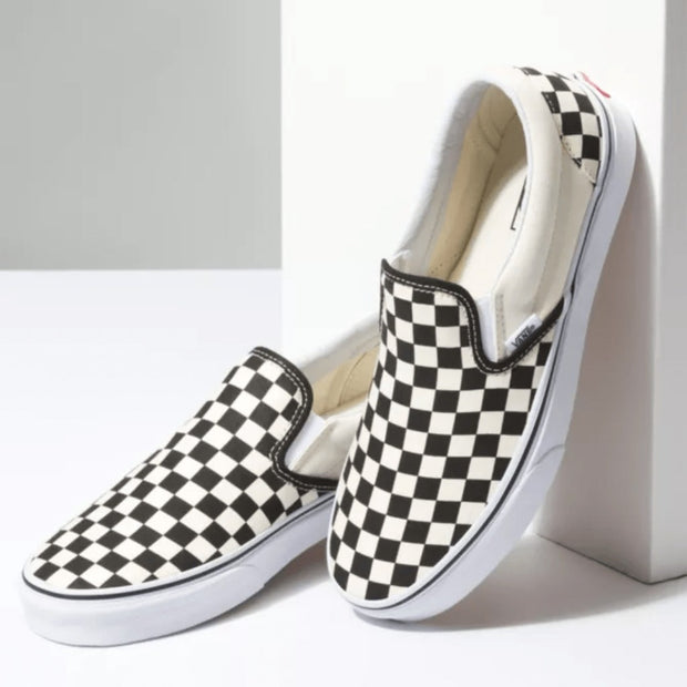 Vans Unisex Shoes 9.5M/11W Vans, Unisex Classic Checker Slip On (Black/White)