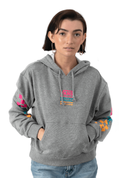 Vans Women's Sweatshirt Large / Grey Heather Vans, Women's Word Check Hoodie (Grey)
