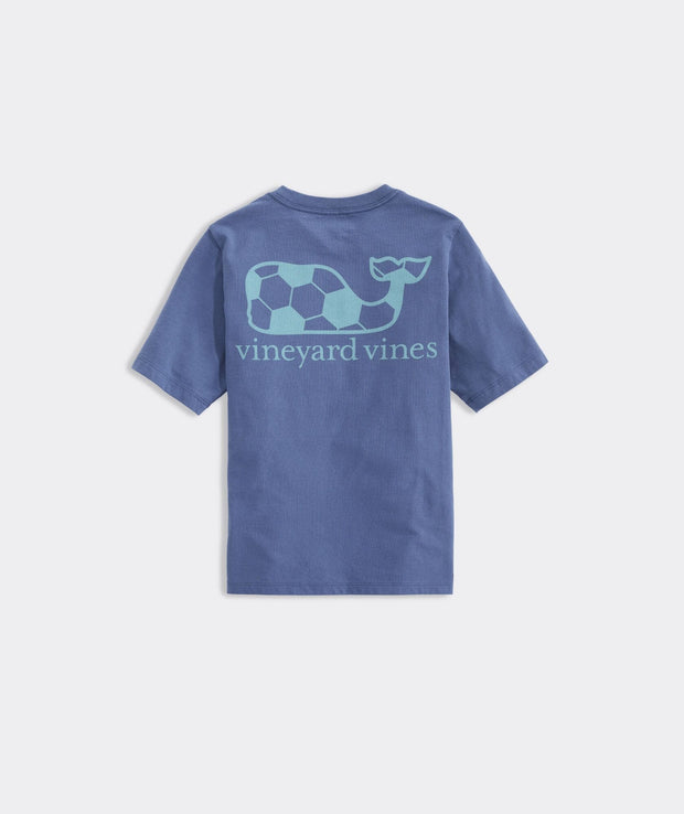 Vineyard Vines Boy's Tees Large / Blue Vineyard Vines, Boys' Soccer Ball Whale Short-Sleeve Pocket Tee (Blue)
