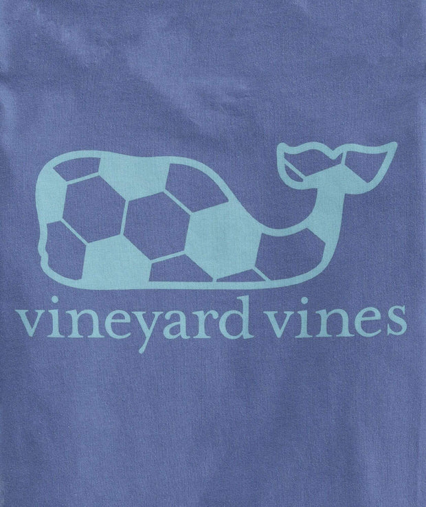 Vineyard Vines Boy's Tees Vineyard Vines, Boys' Soccer Ball Whale Short-Sleeve Pocket Tee (Blue)