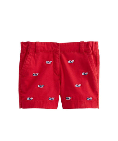 Vineyard Vines Girl's Bottoms 10 / Candy Apple Red Vineyard Vines, Girl's Whale Embroidered Shorts (Candy Red)