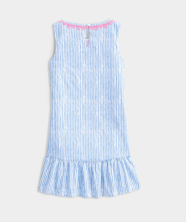 Vineyard Vines Girls dresses 10 / Blue and Pink Vineyard Vines, Girls' Sunbleached Stripe Embroidered Dress (Blue and Pink)