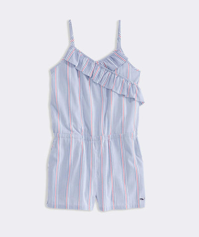 Vineyard Vines Girls dresses Large / Blue Vineyard Vines, Girls' Nicholls Stripe Romper (Blue)
