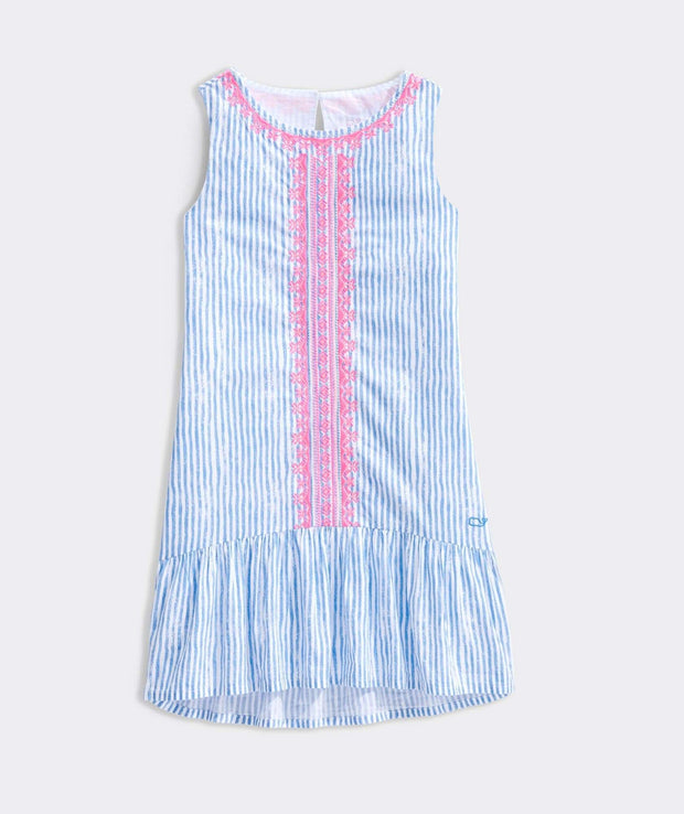 Vineyard Vines Girls dresses Vineyard Vines, Girls' Sunbleached Stripe Embroidered Dress (Blue and Pink)