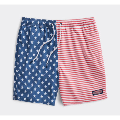 Vineyard Vines Men's Bathing Suit Large / USA Blue Vineyard Vines, Men's American Flag Chappy Volley (Red, White, and Blue)
