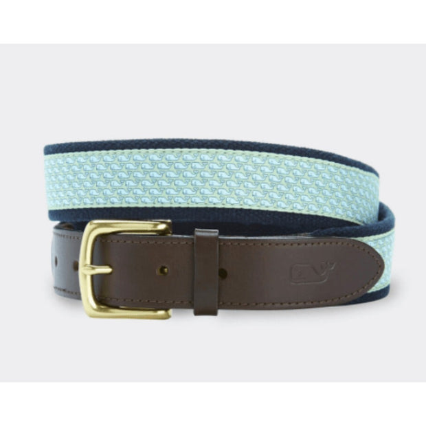 Vineyard Vines Men's Belt Club Belt Whale (Seafoam Green)