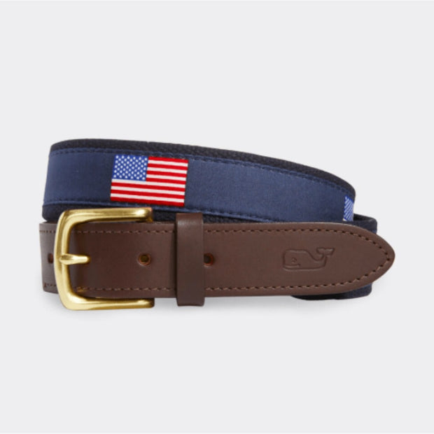 Vineyard Vines Men's Belt Vineyard Vines, Men's Flag Canvas Belt (Navy)