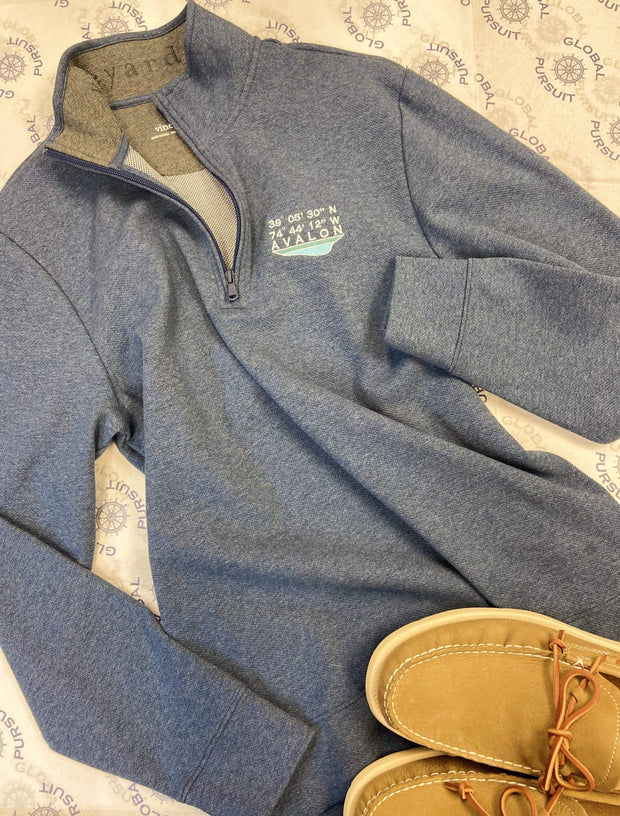 Vineyard Vines Men's Sweaters Vineyard Vines, Men's Avalon Quarter-Zip Sweater (Storm Blue)