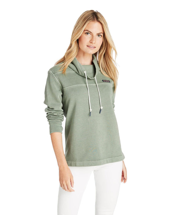 Vineyard Vines Women's Sweaters Large / Olive Green Vineyard Vines, Women's Garment-Dyed Funnel-Neck Shep Shirt (Olive Green)