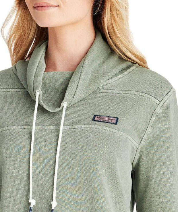 Vineyard Vines Women's Sweaters Vineyard Vines, Women's Garment-Dyed Funnel-Neck Shep Shirt (Olive Green)
