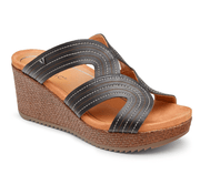 Vionic Women's Sandals 6.5 / Black Vionic, Women's Malorie Platform Sandal (Ebony and Chestnut)