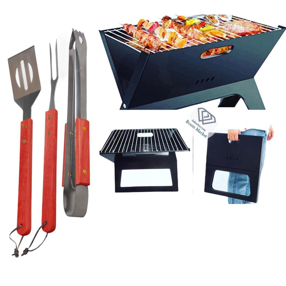 Barbecue Charcoal Grill plus Kit ustensiles pour barbecue