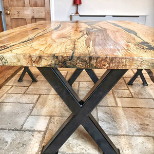 Dining Table and Benches - Ash with Dark Blue and Turquoise Resin