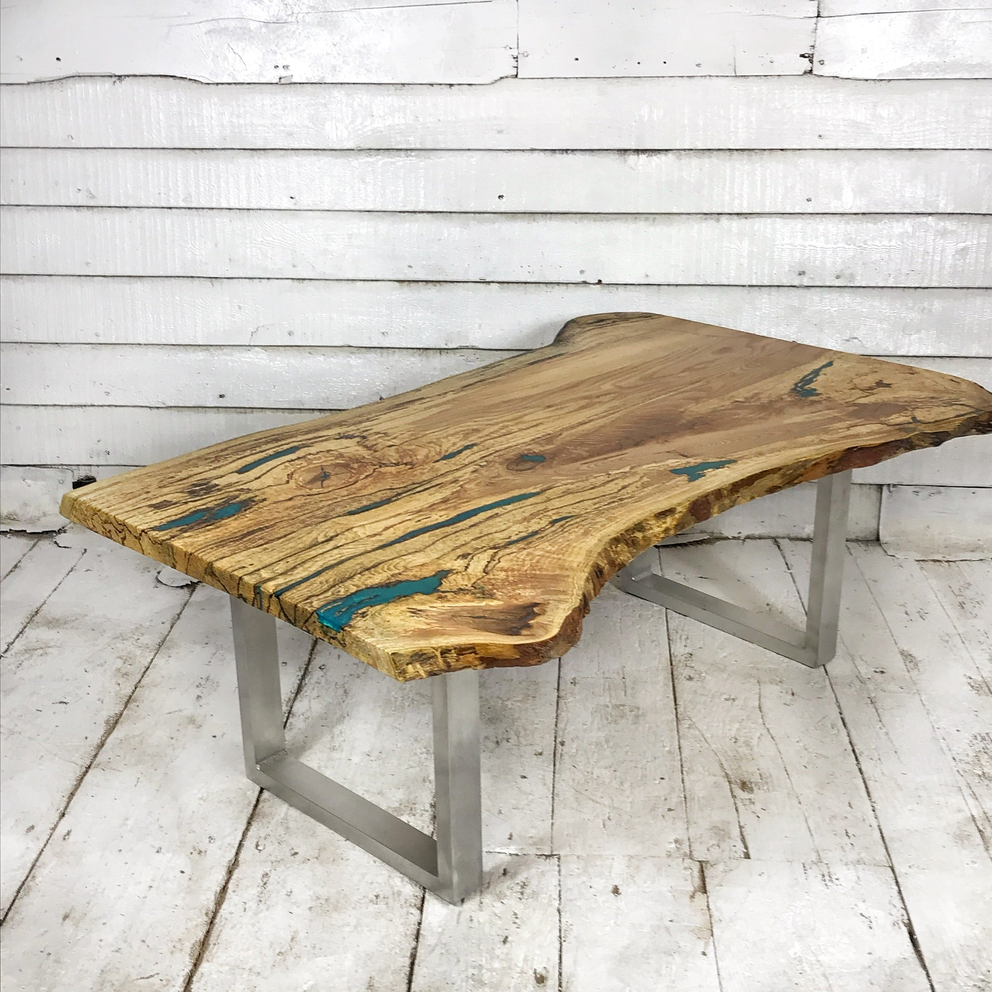 Large Coffee Table Ash With Ocean Blue Resin Waltham Wood Design
