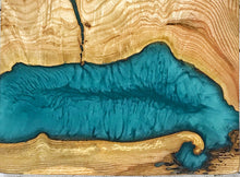 Load image into Gallery viewer, Medium Wall Art - Ash with Ocean Blue Resin