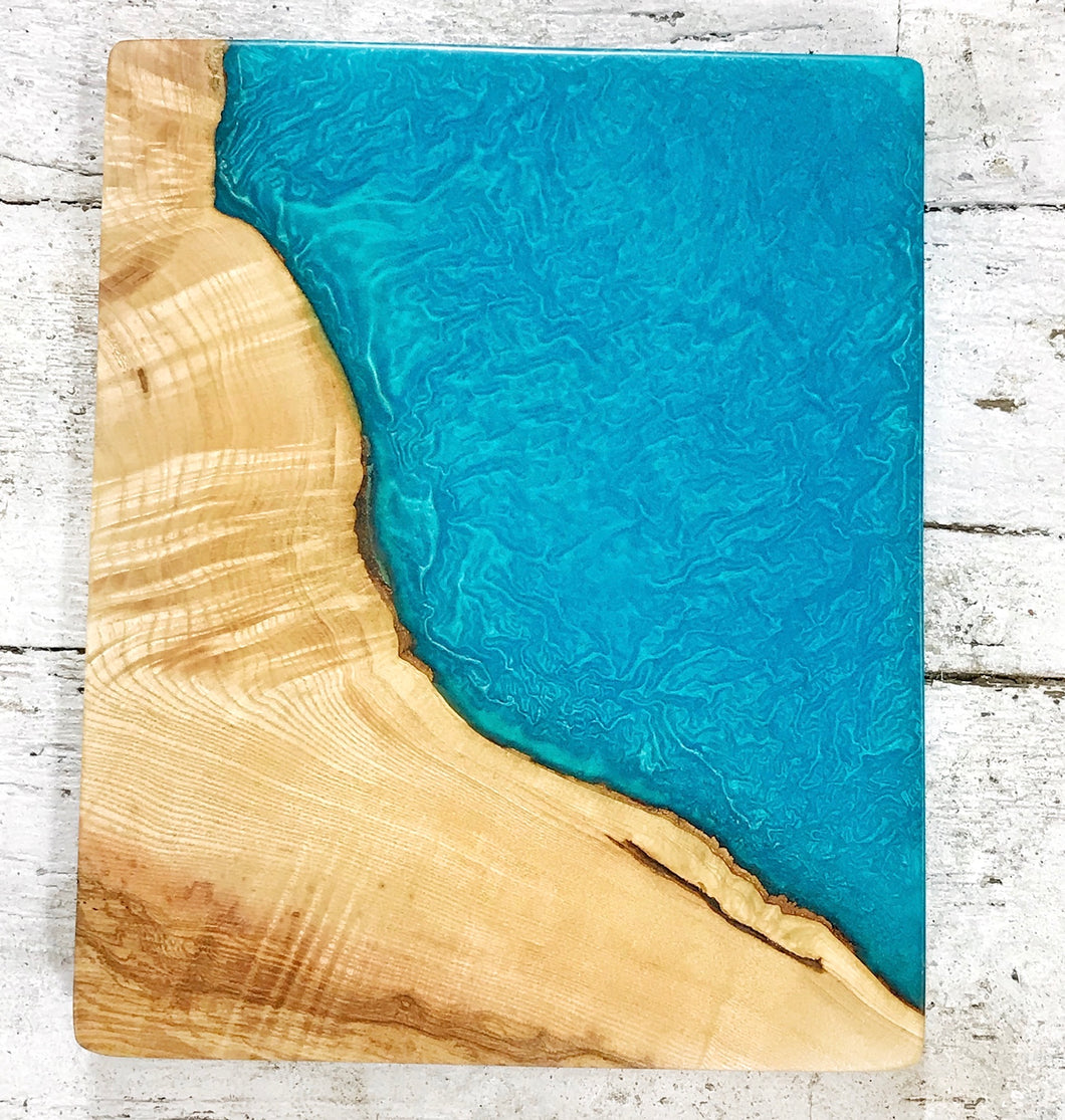 Medium Wall Art - Ash with Ocean Blue Resin