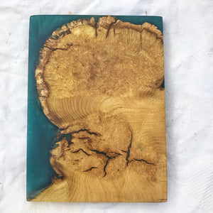 Small Wall Art - Ash with Ocean Blue Resin