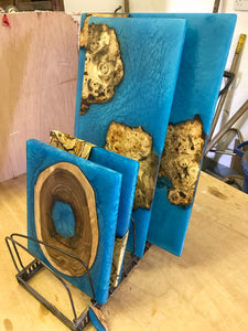 Large Wall Art - Ash with Ocean Blue Resin