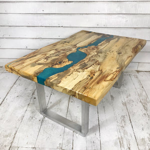 Medium Coffee Table - Horse Chestnut with Ocean Blue Resin - Contact us for information