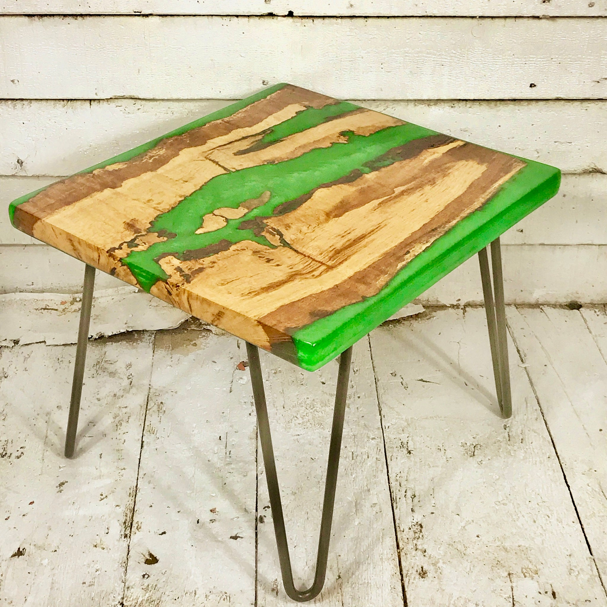 - Small Coffee Table - Oak With Apple Green Resin – Waltham Wood Design