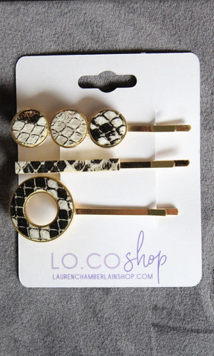 Animal Print Hair Clip Set