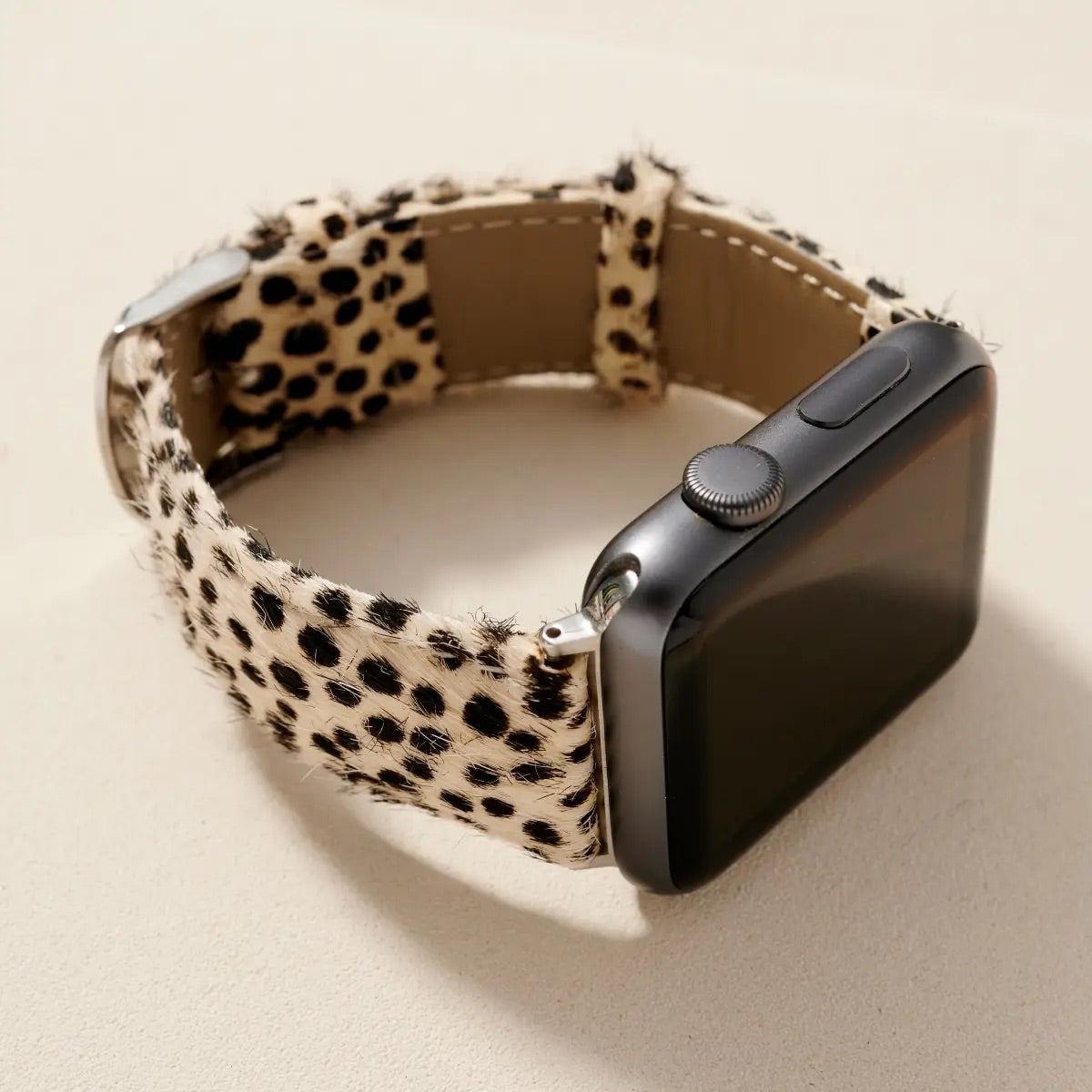 Calf Hair Apple Watch Band - White Dot