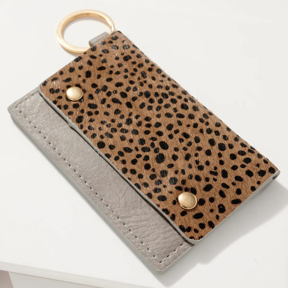 Animal Print Leather ID Pocket Key Chain Wallet - Cheetah